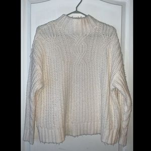 White Cable Knit Aerie Pullover Sweater